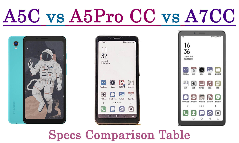 Hisense a7cc vs a5procc vs a5c specs comparison table