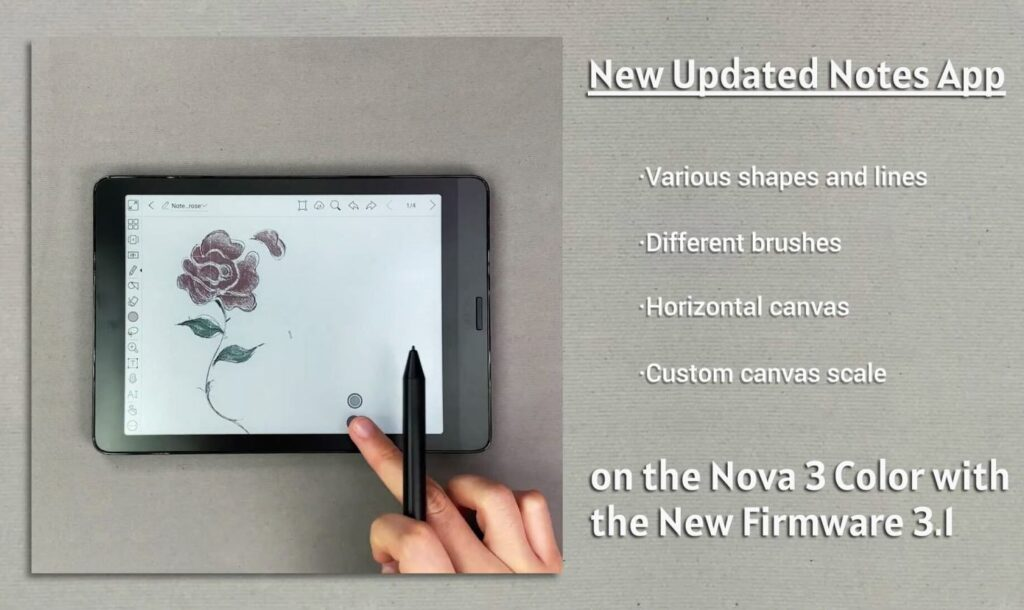 Onyx Boox nova 3 color notes app firmware 3.1